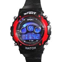7 Lighr Red Sport Black And Red Digital Kids Watch vjzone v j zone