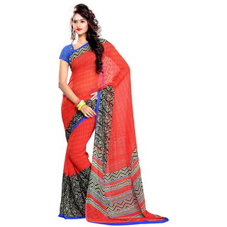Ethnic Queen Georgette Red & Blue Color Saree
