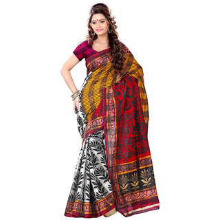 Ethnic Queen Bhagalpuri Brown Color Art Silk Saree