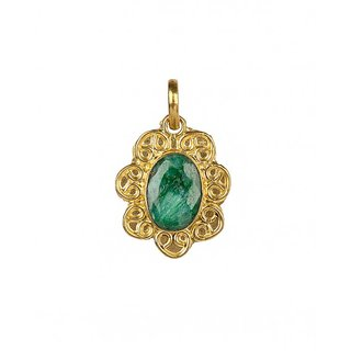 Floral Design Jade Stone, 18 ct Gold Plated