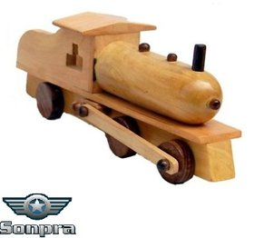 Sonpra  Antique Wooden Handicraft  Steam Engine Toy-  (1 to 7 Year)