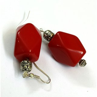 Red box earring with oxidised beads