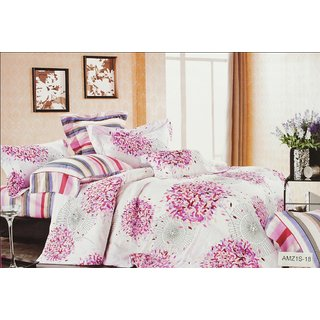 Valtellina Leave Print 2 Single Bedsheets with 2 Pillow Cover (AMZ2S-18)