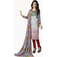 Parisha Purple Dupion Silk Printed Salwar Suit Dress Material