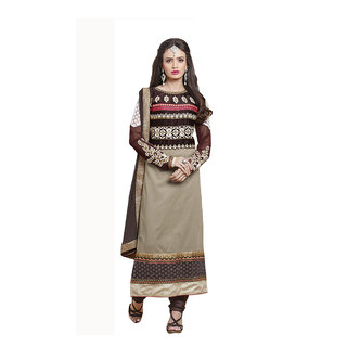 Parisha Brown And Beige Cotton Embroidered Salwar Suit Dress Material