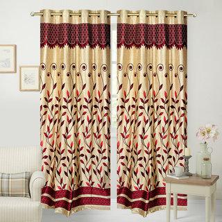 Fresh From Loom Designer Panel Maroon Eyelet Door Curtain (Set of 2)