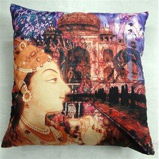 Welhouse India The Taj Mahal Art 3D Digital Cushion Cover   Pack of 1