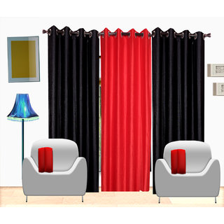 Fresh From Loom Plain Polyster Door Curtain -Set of 3 (405-2Black+1Red-7feet-3pc)