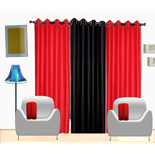 Fresh From Loom Plain Polyster Door Curtain -Set of 3 (407-2Red+1Black-7feet-3pc)