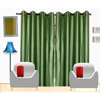 Fresh From Loom Plain Polyster Door Curtain -Set of 3 (428-Green-7feet-3pc)