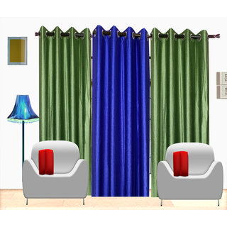 Fresh From Loom Plain Polyster Door Curtain -Set of 3 (450-2Green+1Blue-7feet-3pc)