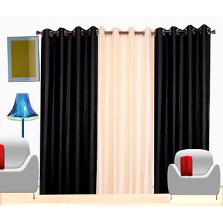 Fresh From Loom Plain Polyster Door Curtain -Set of 3 (469-2Black+1Cream-7feet-3pc)