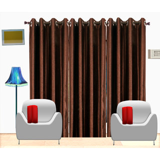 Fresh From Loom Brown Plain Polyster Door Curtain -Set of 3 (417-Coffe-7feet-3pc)