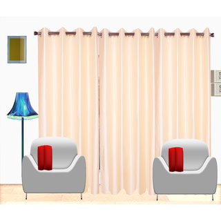 Fresh From Loom Cream Plain Polyster Door Curtain -Set of 3 (454-Cream-7feet-3pc)