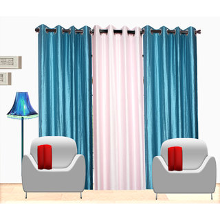 Fresh From Loom Plain Polyster Door Curtain -Set of 3 (486-2Skyblue+1White-7feet-3pc)