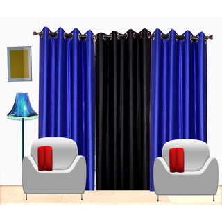 Fresh From Loom Plain Polyster Door Curtain -Set of 3 (504-2blue+1Black-7feet-3pc)