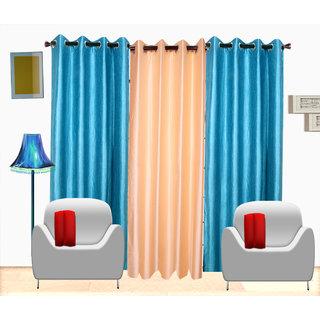 Fresh From Loom Plain Polyster Door Curtain -Set of 3 (505-2Skyblue+1Cream-7feet-3pc)