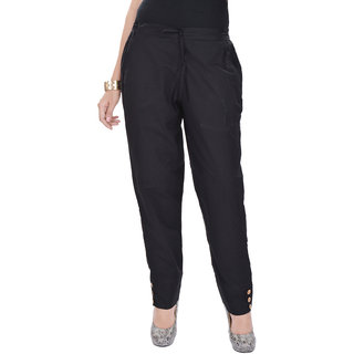 Kalrav Solid Black Cotton Pant