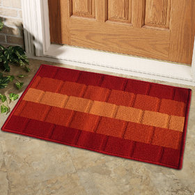 Orange,Wine Polyproplene Door Mat ( 15X22 Inch)