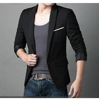 31bdf485612 Men Slim fit black Partywear Formal blazer jacket coat + 1 pocketsquare  hanky