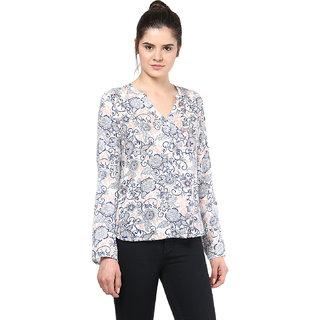 Rayon White Women High Low Floral Printed Shirt