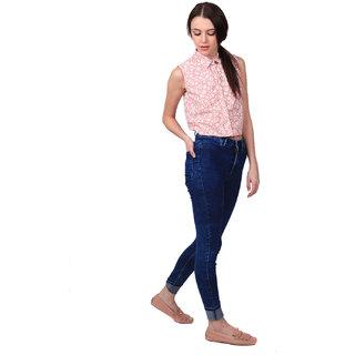 Chambray Peach Women Chambray Crop Shirt