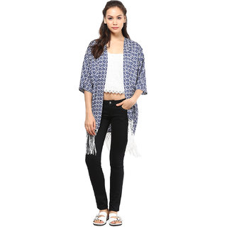 Polyester Blue  White Women Printed Kimono With Fringes