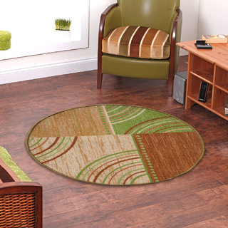 Status Brown,Green Nylon Round Rug ( 32X32 Inch)