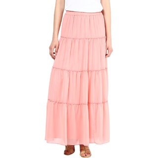 Georgette Pink Women Tier Maxi Skirt