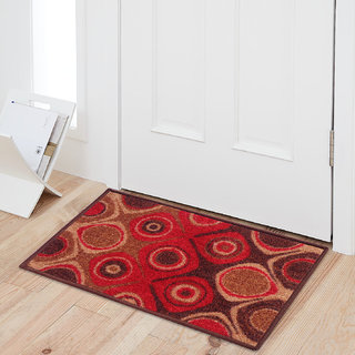 Status Brown,Red Nylon Door Mat ( 15X22 Inch)