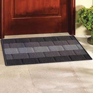 Status Grey Polyproplene Abstract Door Mat ( 15X22 Inch) (Set of 1)