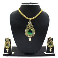 Peacock Feather Pendant Set By Zaveri Pearls-ZPFK3349