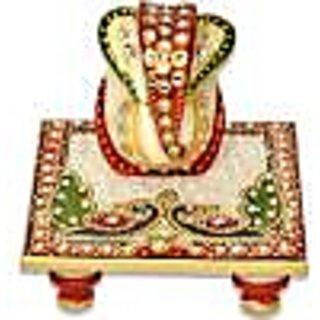 Marble Handicraft Ganpati Peacock Choki