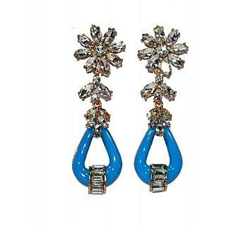 VMR Elegant Blue With American Diamonds Earings
