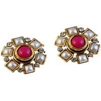 Kriaa Antique Gold Austrian Stone Pearl Pink Earrings - 1304916