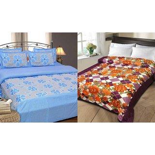iLiv Cotton Double Bedsheet  AC Blanket Combo
