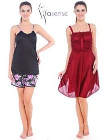 Fasense Women Nightwear Sleepwear Combo Set of A Nighty With Top  Shorts DPCOM8