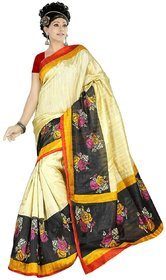 Cotton Natural White Linen Printed Saree With Blouse