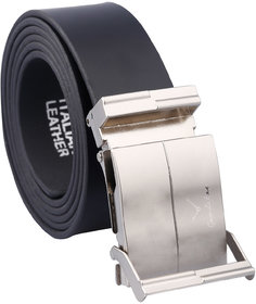 Fashno Silver Adustable Italian Leatherite Black Belt(Length-48 inch and Width-1.5 inch)(Size-Free Size)