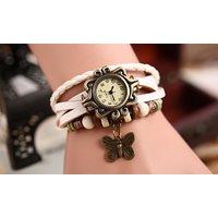 Vintage Watches For Women Genuine Leather Watch Bracelet Wristwatch White STAR