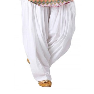 White Full Patiala Salwar - Aashish Fabrics