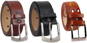 Fashno Combo Of Black and Brown Formal Belt And Tan 4 Stiched Belt(L-48 inch and B-1.5 inch)(Pack Of 3)