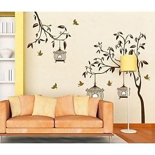 Walltola Wall Decal - Brown Tree With Birds And Cages 7127 (Dimensions 110x90 cm)