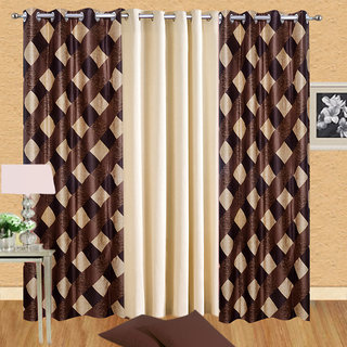 Buy ILiv Floral Polyster Combo Of 3 Door Semi Transparent Curtains For Bed  Room   2 Brown Box 1 Cream Plain Solid   7ft Online   Get 49% Off