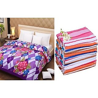 Combo - Double Bed AC Blanket + 3 Hand Towel