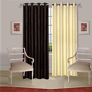 iLiv Pack Of 2 Plain Eyelet Door Curtain-7ft-  1Brown1Cream7ft