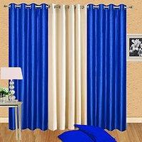ILiv Pack Of 3 Pcs Plain Eyelet Door Curtain-2Royalblue-1Cream