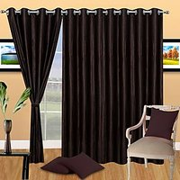 ILiv Pack Of 3 Plain Eyelet Door Curtain-Brown