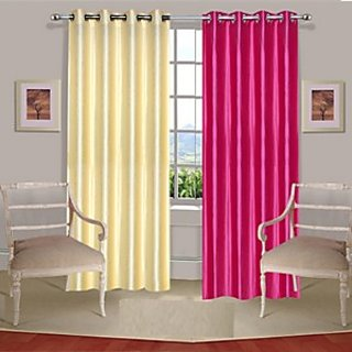 iLiv Pack Of 2 Plain Eyelet Door Curtain-7ft-  1cream1pink7ft