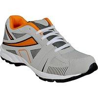 Jollify Men's Orange  Gray Cricket Shoes